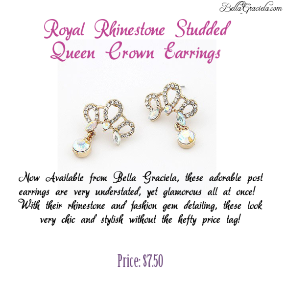Royal Rhinestone Studded Queen Crown Earrings - BellaGraciela.Wordpress.Com