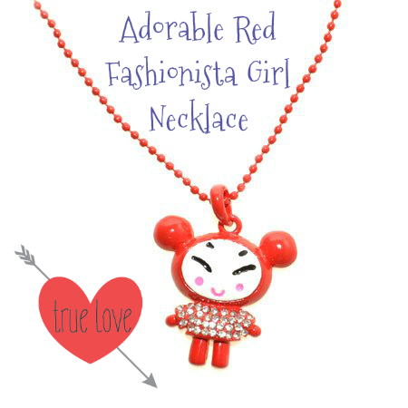 Adorable Red Fashionista Girl Necklace-bellagraciela.wordpress.com