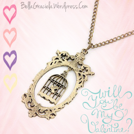 Charming Bronze Fairest of Them All Mirror and Birdcage Necklace- BellaGraciela.Wordpress.Com