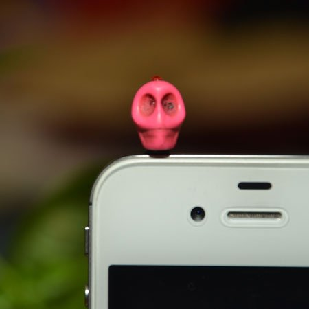 Hot Pink Skull with Red Rhinestone Headphone Jack Cell Phone Charm Dust Plug