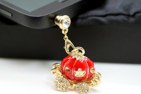 Cinderella's Magical Rhinestone Studded Red Pumpkin Carriage Cell Phone Charm Dust Plug, iphone accessories, cell phone charms