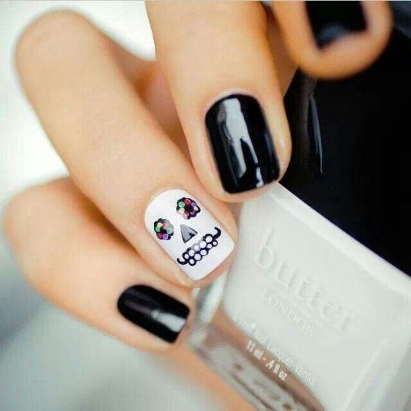 dia de los muertos, sugar skull nails