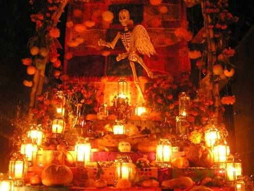 Traditional Dia de los Muertos Altar