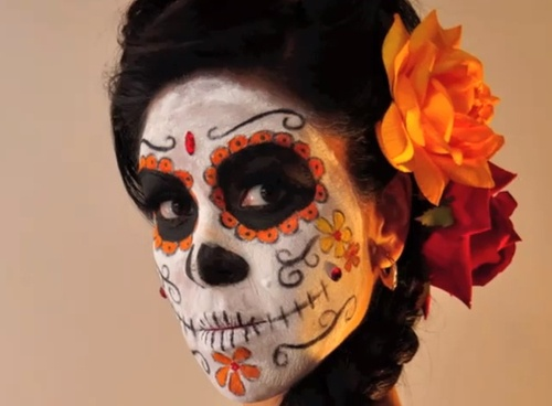 Traditional Dia de los Muertos Sugar Skull Makeup