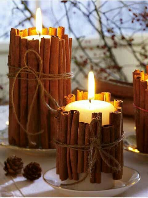 DIY Rustic Cinnamon Stick Pillar Candles - Pinterest
