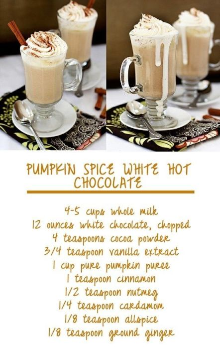 Pumpkin Spice White Hot Chocolate - Pinterest
